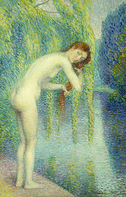Bather Washing Her Hair Poster by Hippolyte Petitjean