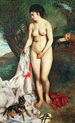 Bather With A Griffon Dog Poster by Pierrre Auguste Renoir