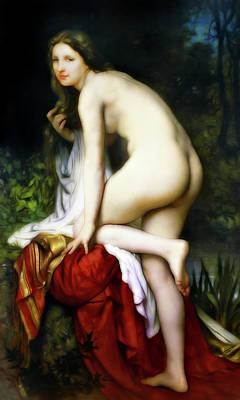 Bathing At Night Poster