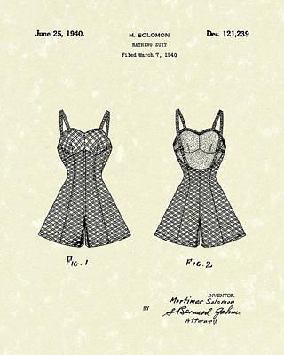 Bathing Suit 1940 Patent Art Poster