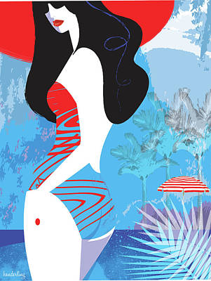 Woman At Beach In Bathing Suit Poster