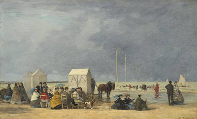 Bathing Time At Deauville Poster by Eugene Boudin