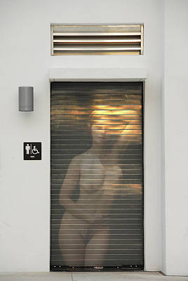 Bathroom Door Nude Poster