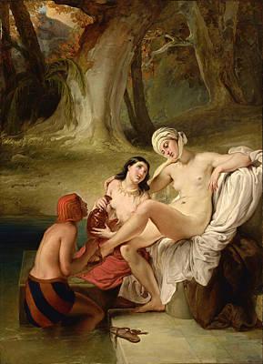 Bathsheba At Her Bath Poster by Francesco Hayez