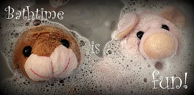 Bathtime Is Fun Poster by Piggy