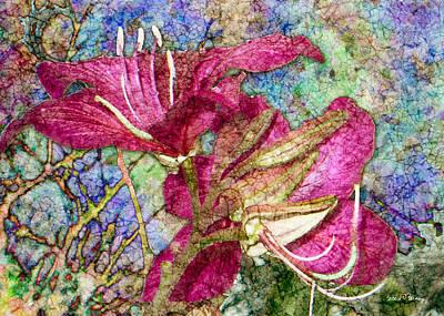 Batik Lilies Poster by Barbara Berney