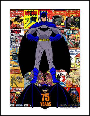 Batman 75 Poster by Mista Perez Cartoon Art