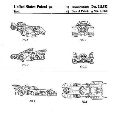 Batmobile 1990 Patent Poster by Bill Cannon
