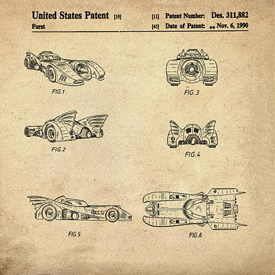 Batmobile 1990 Patent In Sepia Poster by Bill Cannon