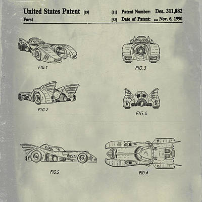 Batmobile 1990 Patent In Weathered Poster by Bill Cannon