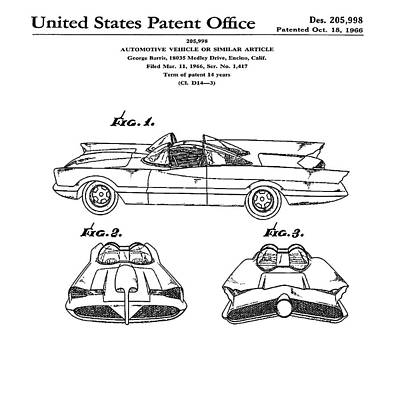 Batmobile Patent 1966 Poster by Bill Cannon