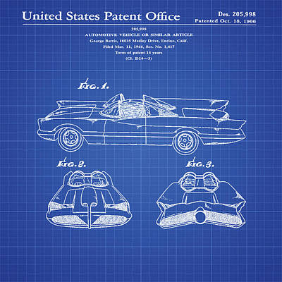 Batmobile Patent 1966 Blueprint Poster by Bill Cannon