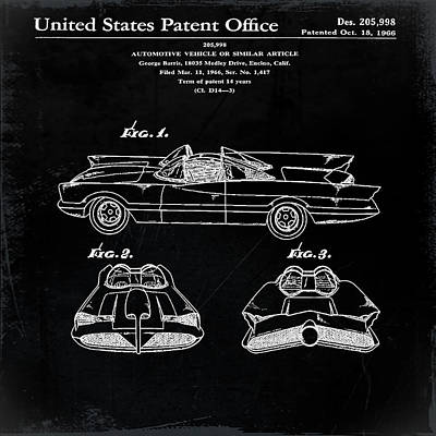 Batmobile Patent 1966 In Black Poster by Bill Cannon