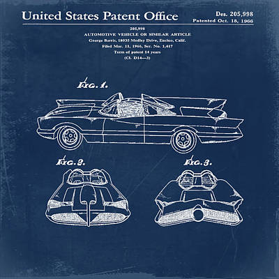 Batmobile Patent 1966 In Blue Poster by Bill Cannon