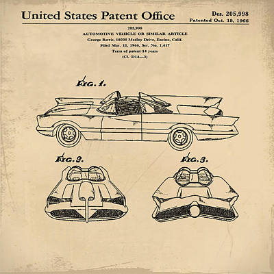 Batmobile Patent 1966 In Sepia Poster by Bill Cannon