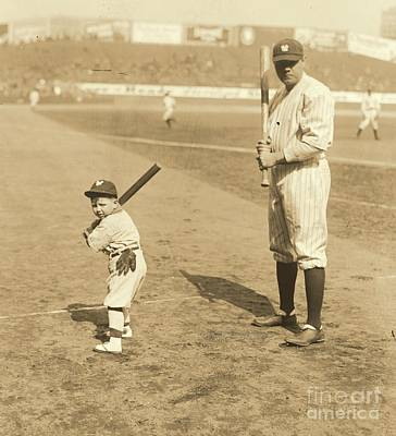 Batting With The Babe Poster by Padre Art