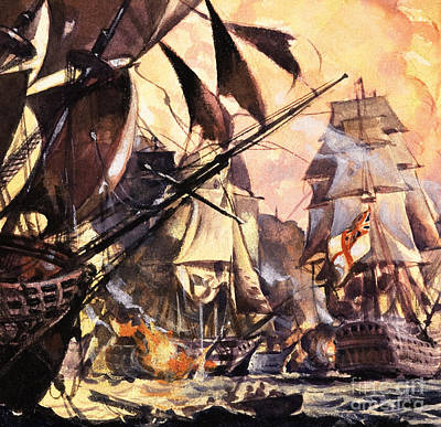 Battle Of Trafalgar Poster by English School