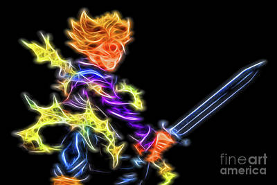 Poster featuring the digital art Battle Stance Trunks by Ray Shiu