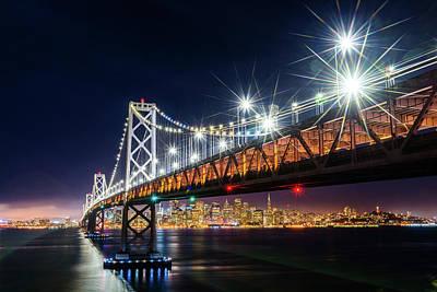 Bay Bridge And San Francisco By Night 5 Poster