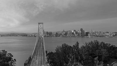 Bay Bridge And San Fransico Black And White  Poster by John McGraw