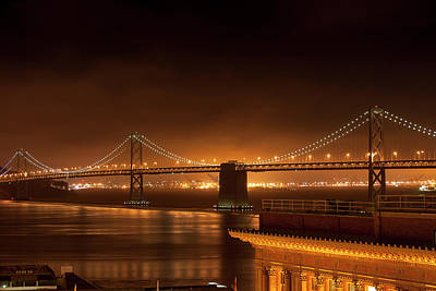 Bay Bridge At Night Poster
