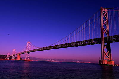 Poster featuring the photograph Bay Bridge Sunset by Linda Edgecomb