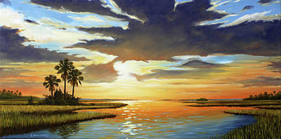 Bay Sunset Poster by Rick McKinney