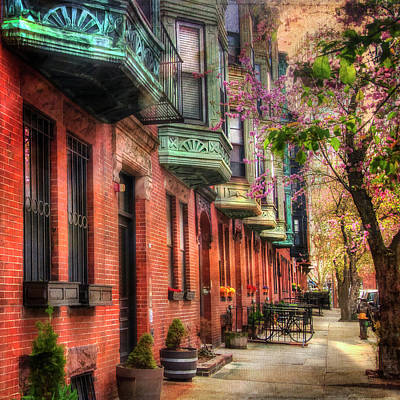 Bay Village Brownstones And Cherry Blossoms - Boston Poster by Joann Vitali