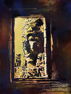 Poster featuring the painting Bayon IIi- Cambodian Ruins, Angkor Wat by Ryan Fox