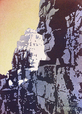 Poster featuring the painting Bayon Temple- Angkor Wat, Cambodia by Ryan Fox