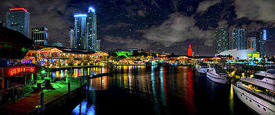 Bayside Miami Florida At Night Under The Stars Poster