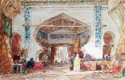 Bazaar In Constantinople Poster by Felix Ziem