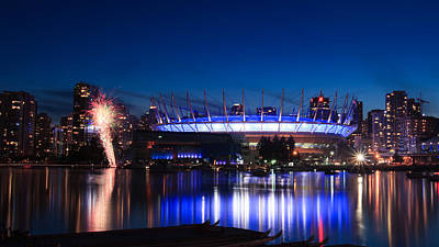 Bc Place Fireworks Poster by Alan W