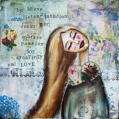 Be Brave Inspirational Mixed Media Folk Art Poster by Stanka Vukelic
