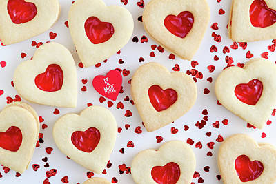 Poster featuring the photograph Be Mine Heart Cookies by Teri Virbickis