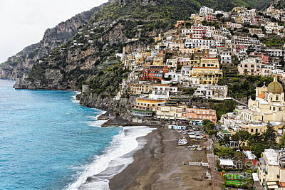 Beach And Town Of Positano Poster
