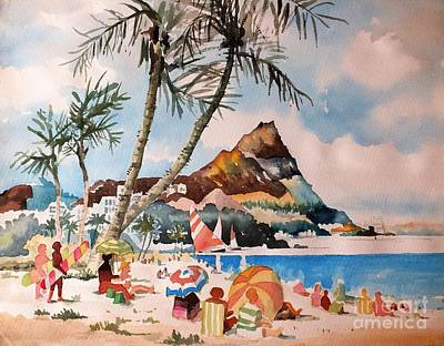Beach At Honululu, Hawai Poster by Val Byrne