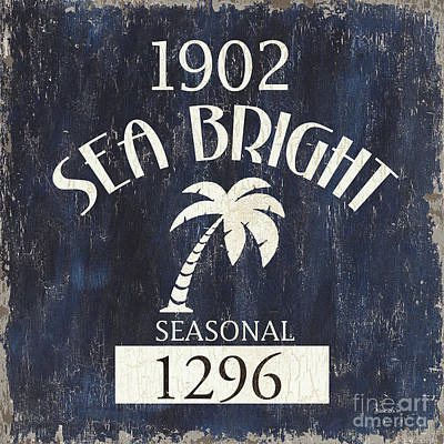 Beach Badge Sea Bright Poster by Debbie DeWitt