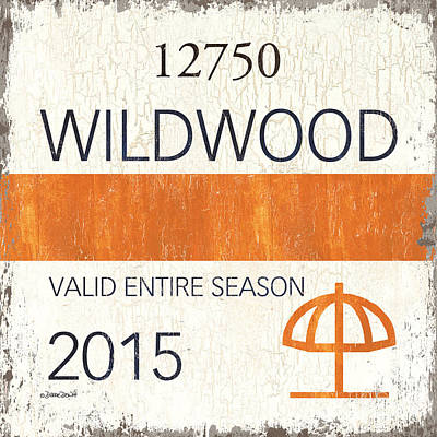Beach Badge Wildwood Poster by Debbie DeWitt