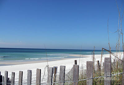 Beach Behind The Fence Poster by Christiane Schulze Art And Photography