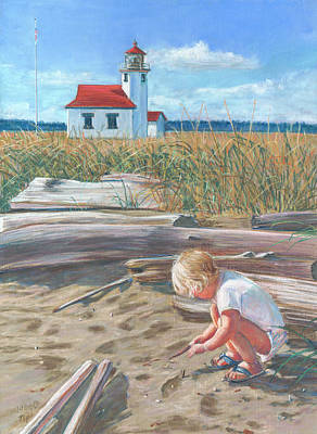 Beach By Lighthouse Poster