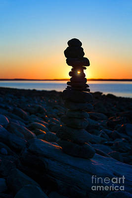 Beach Cairn At Sunrise Poster by Diane Diederich