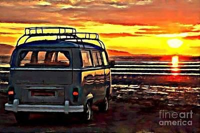 Beach Camper Poster by S Poulton