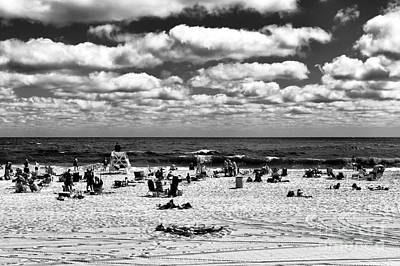 Beach Clouds At Seaside Heights Mono Poster