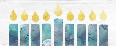 Beach Colors Menorah- Art By Linda Woods Poster by Linda Woods