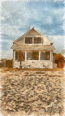 Beach Cottage Pencil Poster by Edward Fielding