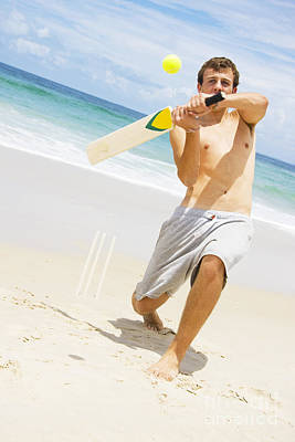 Beach Cricket Slog Poster by Jorgo Photography - Wall Art Gallery