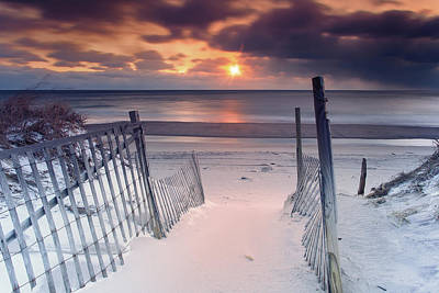 Beach Entrance Winter Sunrise Poster