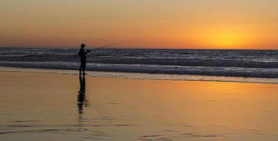 Beach Fishing At Sunset Poster