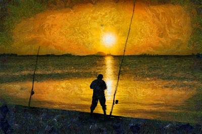 Poster featuring the photograph Beach Fishing  by Scott Carruthers